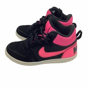 Nike Court Borough Mid Kid's Shoes Black Hot Pink